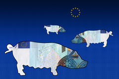 Euro Landscape 3 pigs Royalty Free Stock Image