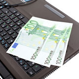 Euro on laptop Royalty Free Stock Images