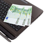Euro on laptop Stock Image