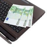 Euro on laptop Stock Image