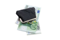 Euro and a leather purse. Isolated on white Stock Image