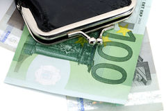 Euro and a leather purse Royalty Free Stock Image