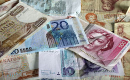 Euro and legacy currencies Royalty Free Stock Image