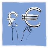Euro- libra Imagem de Stock