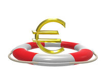 Euro with lifebuoy, 3d rendering Royalty Free Stock Photography