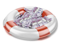 Euro  in lifebuoy Royalty Free Stock Images