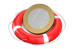 Euro on lifebuoy. Isolated on white background Stock Images
