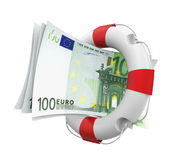 Euro and Lifebuoy Isolated. On white background. 3D render stock illustration