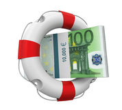 Euro and Lifebuoy Isolated. On white background. 3D render Royalty Free Stock Photo