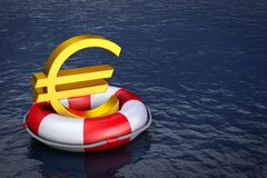 Euro on  lifebuoy. A euro sign on the lifebuoy. 3d rendering Stock Images