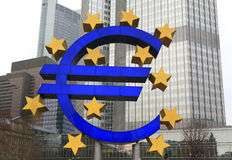A euro light sculpture in Frankfurt. A euro light sculpture at the European Central Bank in Frankfurt on the Main Stock Image