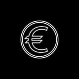 Euro linea icona, finanza ed affare della moneta Immagine Stock
