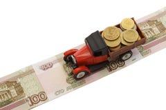 Euro-LKW lässt vorbei Rubel laufen Lizenzfreies Stockfoto