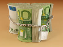 Euro on lock Stock Images