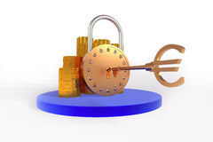 Euro lock. Financial concept, coins and lock euro symbol Royalty Free Stock Images