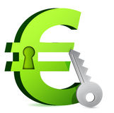 Euro lock and key Stock Photo
