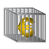 Euro locked. Jail with gold euro inside Stock Photos