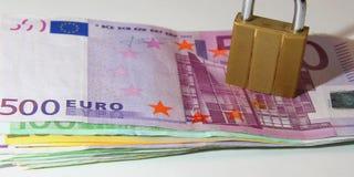 Euro Locked. Pile of Euros: 5, 10, 20, 50, 100, 200 and 500 euro Royalty Free Stock Photo