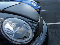 Euro look. New Volkswagens Beetle parked at a car show stock images