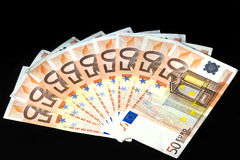 50 Euro. A lot of european money over black background Stock Photography