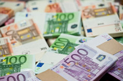 Euro. Lots of euro bills on the table Stock Images