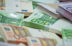 Euro. Lots of euro bills on the table Stock Image