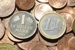 Euro, Münzen, Geld, D-Kennzeichen Stockfoto
