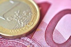 euro- macro do dinheiro Imagens de Stock