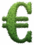 Euro made of grass. Isolated on a black background. 3D illustration Royalty Free Stock Photo