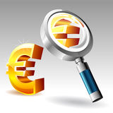 Euro with magnify glass Stock Image