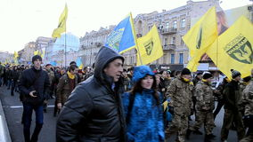 Euro maidan 2014 anniversary in Kiev, Ukraine, stock video