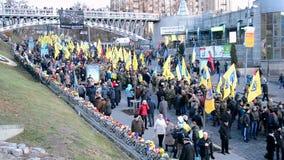 Euro maidan 2014 anniversary in Kiev, Ukraine,. KIEV - NOV 21: Euro maidan anniversary on Kreshatik street in Kiev, Ukraine on November 21, 2014 stock video