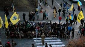 Euro maidan 2014 anniversary in Kiev, Ukraine,. KIEV - NOV 21: Euro maidan anniversary on Kreshatik street in Kiev, Ukraine on November 21, 2014 stock footage
