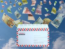 Euro from the mail. Flying EUROs arrived with airmail Royalty Free Stock Images