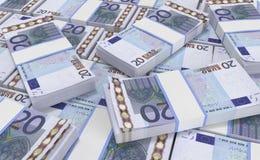 euro- marca 20 fluorescente euro- fundo do dinheiro Cédulas do dinheiro do Euro Ilustração do Vetor