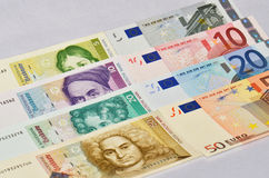 Euro - Marco alemán Fotos de archivo libres de regalías