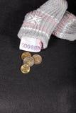Euro massa monetaria in un calzino Immagini Stock Libere da Diritti