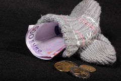 Euro massa monetaria in un calzino Fotografia Stock Libera da Diritti
