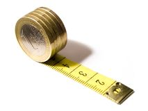 Euro measure. Yellow euro tape with numbers on white background Stock Images
