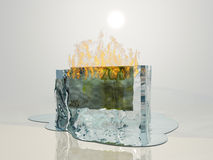 Euro Melt. Banknote in ice on fire Royalty Free Stock Photos