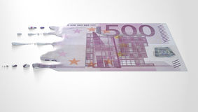 Euro Melting Dripping Banknote Stock Images