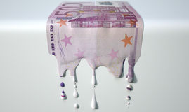 Euro Melting Dripping Banknote Stock Image