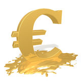 Euro melts. Gold Euro sign in a pool of melting on a white background Royalty Free Stock Photo