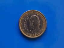 1 euro menniczy, Europejski zjednoczenie, Hiszpania nad błękitem Zdjęcie Royalty Free