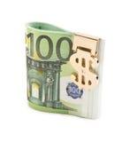 Euro met gouden klem royalty-vrije stock afbeeldingen