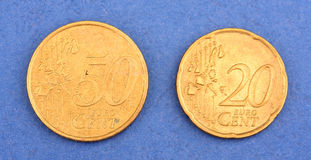Euro metal coins Stock Photos