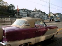 Euro Metropolitan. Perfectly conserved nearly extinct purple Nash Metropolitan convertible in the city of Zurich, Switzerland Stock Photography