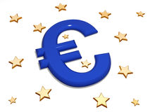 Euro in the middle of stars Royalty Free Stock Photo