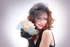 euro mienia pieniądze kobiety potomstwa Obraz Stock
