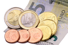 8,84 Euro minimum wage in Germany. Cash isolated over white background Stock Photos
